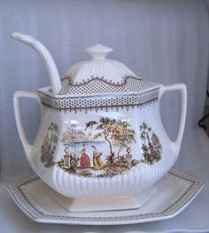 Antique Adams Antoinette Soup Tureen Complete w Ladle   eBay