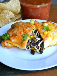 Black Bean & Spinach Chicken Enchiladas