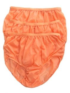 CLICK IMAGE TWICE FOR PRICING AND INFO :) #women #panties #lingerie #briefpanties #intimates #undergarment see more granny panties at http://zpanties.com/category/panties-categories/granny-panties/ - Lot 3 Piece Wholesale Granny Briefs Panties 100 % Nylon Knickers Lingerie Orange Size 2xl « Z Panties