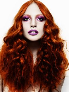 Middle Parted Long Wavy Copper Red Hair Lavender Makeup