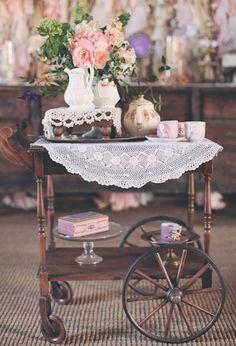 doily and tea cart