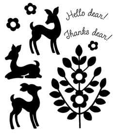 Oh Dear silhouette stamp set with 3 deer and tree image