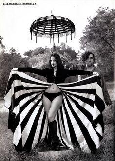 Tim Burton and Lisa Marie full skirts, lisa marie presley, costume ideas, lisamari, tim burton, twilight zone, black, stripe, timburton