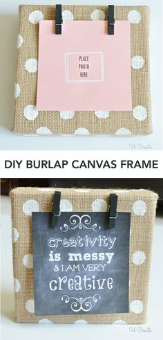 DIY Burlap Canvas Frame - with polkadots! Canva Frame, Diy Frames Craft, Quot