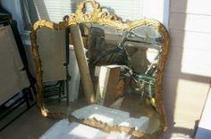 Large Vintage Ornate Wall Mount Mirror