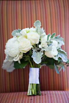 Neutral Bridal Bouquet with White Roses and Dusty Miller.  Fulton's on the River Wedding. Summer Jean Photography. Sweetchic Events. Larkspur.