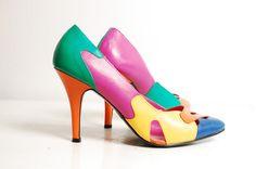 Vintage 80s Color Block Heels  1980s Leather por concettascloset, $56.00