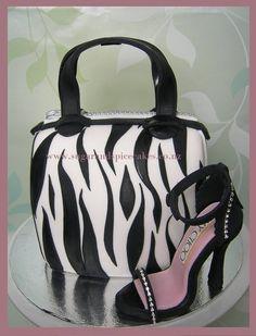Zebra stripe Handbag Cake with Stiletto