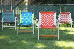 Tutorial : Macrame Lawn Chair — Deuce Cities Henhouse - I remember Rob's Dad spending a summer with a friend of his making these chairs...now I wish I would have spent some time that summer learning from them. They were the coolest summer lawn chairs!