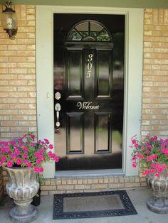 front door decor, black front, black doors, welcome signs, garage doors, front doors, house numbers, door projects, front door colors