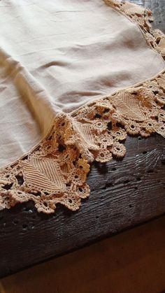 vintage LINEN and crochet lace by SaffronColoredPony on Etsy, $34.00