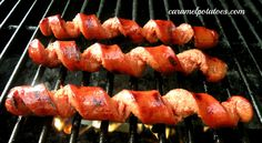 Spiral Cut your Hot Dogs for more grilled flavor- How fun is this!!