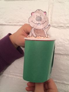 """Groundhog """"puppet""""!  Kids have such a great time making this little groundhog come out to play! $"""