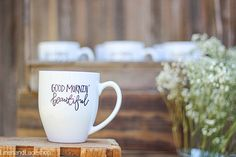 This Good Mornin beautiful bistro style coffee mug is sure to welcome the wonderful day ahead! The lettering for this mug is made by hand in my