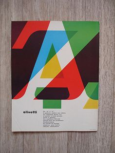 Type. Olivetti. A to Z. Layers, overlap, red, blue, green, yellow, brown, black.