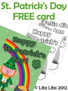 FREE  Happy St. Patrick's day coloring card English and Spanish