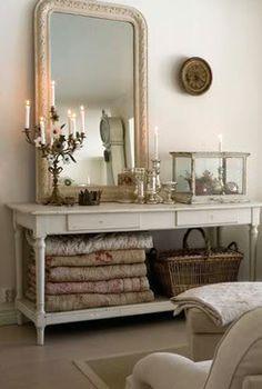 vanity blanket storage