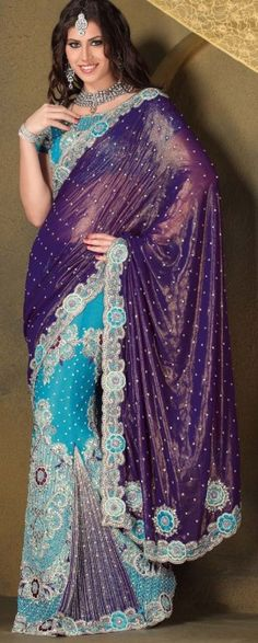 Firozi and Purple  Lehnga Saree