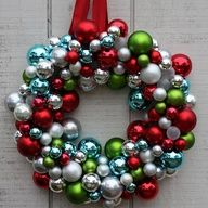 Like the color combo christma wreath, christmas wreaths, craft day, holiday wreaths, christmas crafts, diy ornaments, front doors, ornament wreath, diy christmas ornaments