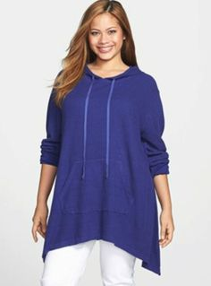Allen Allen Plus Size Hoodie with Sharkbite Hem - Great Casual Piece for early/later summer!