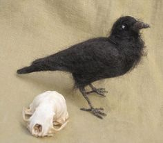 Raven or crow needle felted bird by Ainigmati on Etsy