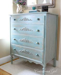 Turquoise patina dresser. Refinish job with appliques, new knobs, dry brush and aging techniques. Very nice.