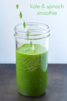 Kale & Spinach Smoothie!  This is an easy and tasty way to get in your greens!