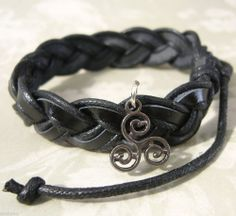 TW Teen Wolf Inspired Triskele Triskelion Tattoo Charm Black Leather ...