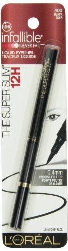 L'Oreal Paris The Super Slim Liner by Infallible Black, 0.034 Fluid Ounce - L'Oreal Paris The Super Slim Liner by Infallible Black, 0.034 Fluid Ounce  List Price: $8.95   Precision Liner Felt Tip 12-Hour Wear    List Price: $8.95 Your Price: $3.99-   Enjoy flawlessly clean lines as precise as 0.4mm with The Super Slim by Infallible Never Fail. The ultra-fine felt tip gives you total control, delivering the perfect amount of liner. The intense quick dry 12 HR formul