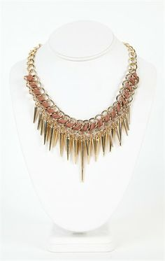 Deb Shops Short Statement #Necklace with Leather Ribbon and Spikes $10.12
