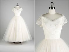 Vintage 1950s Wedding Dress  White Tulle Lace by millstreetvintage, $625.00    WOW! This vintage shop gets the best 50's dresses!