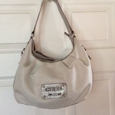 Guess handbag Beautiful cream and silver Guess purse. Hobo style with ...