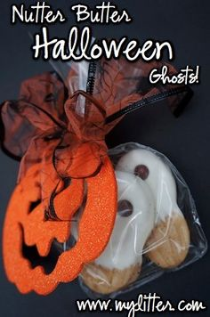 Make Nutter Butter Halloween Ghosts - so easy and so cute! http://mylitter.com/recipes/nutter-butter-halloween-ghost-instructions-and-recipe-1-15-each-bag-decorated/