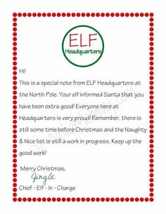 Letter from your Elf on the Shelf {Free Printable}