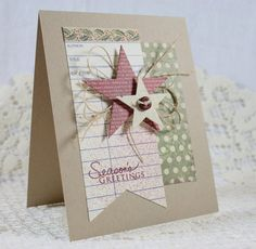 Christmas card using cream library card...