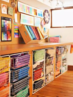 Working space above.  Love the wire bins, so I can see fabric at a glance.  Love the bulletin board, but I would put a design wall on 4 different tracks.  Bulletin board in front of sewing machine.