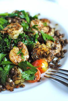 fresh lentils, kale, and shrimp
