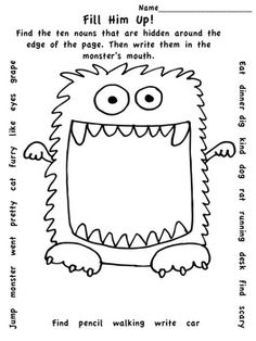 FREE! This fun freebie makes learning about (and reviewing) nouns much easier than petting a hungry monster! Quick and easy min-lessons make it easy for teachers too! Perfect for second and third grades!