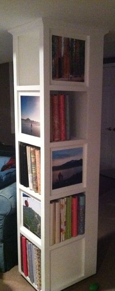 Cover a support beam with this clever bookshelf/photo display. Fantastic!