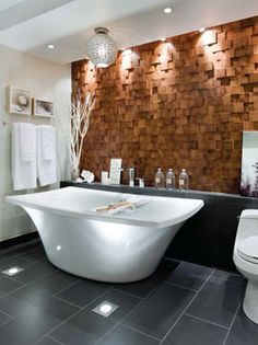 feature wall behind master tub