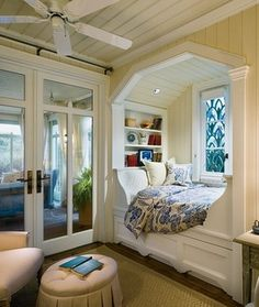 Love this for a kids room, nook in the library to read or beach house bed... at least thats the things I can think of :)