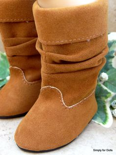 "Brown Camel Suede Slouchy Boots Shoes for 18"" Girl Doll from American Seller 