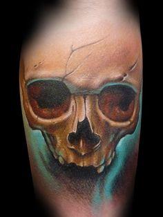 Calavera de Dani Martos - Demon Tattoo (La Seu dUrgell). Siempre recordar la primera vez que vi a Dani en una Convencin. Alucin! Un crack de persona y de lo mejor como artista!!!!!