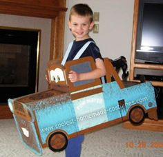 Homemade Tow Mater from Disney's Cars Costume: My four year old son requested to be Mater this year. I usually use this website for ideas, but surprisingly there were no submissions for a Homemade Tow