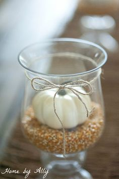 Popcorn kernels. Glass vase. Twine. Mini pumpkin. Easy fall decor.
