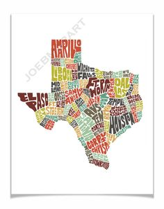 Texas - Typography Map Art Print - color version of my hand drawn map art wall decor - FREE SHIPPING