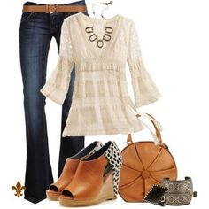 jean, shoes, lace tops, cowboy boots, fall fashions