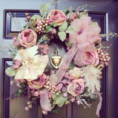 pink Rose Wreath diy home decor, christmas wreaths, pink roses, pink christmas, christmas decorations, front doors, victorian christmas, floral wreaths, christmas ideas
