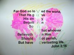 John 3:16 Valentines made today with hand print hearts