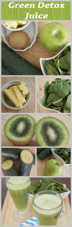 green juice to help detox-apples cucumbers kiwi pineapple and spinach